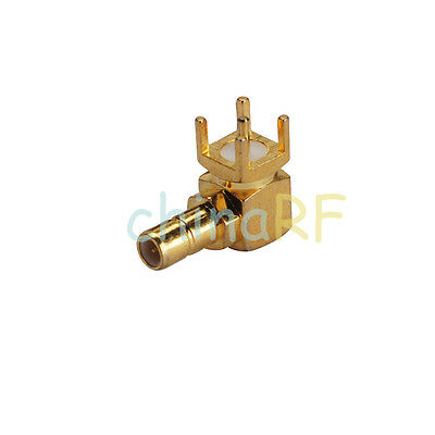 50 PCS SMB male PCB connector right angle plug goldplated RF Coaxial Connector