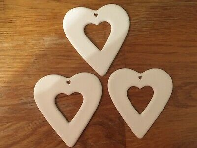 3 x heart shaped Christmas ceramic decorations paint your own