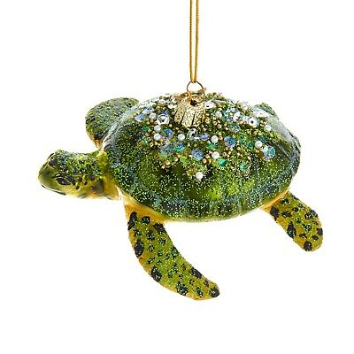Noble Gems Green Sea Turtle Encrusted Christmas Holiday Ornament 4 Inches