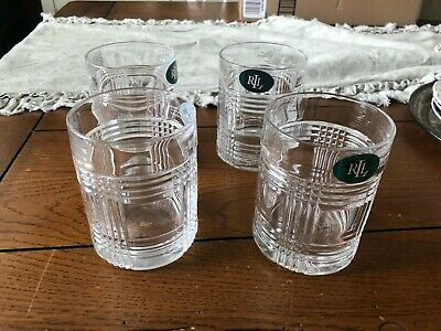 Ralph Lauren crystal Glen Plaid 4 DOUBLE OLD FASHIONED  Glasses NEW WITH TAGS