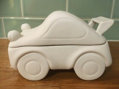 Paint your own ceramic racing car beetle trinket box new with paints 15cm