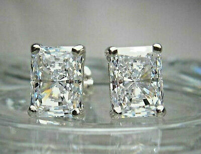 4.05ct Diamond Radiant cut Stud Earrings Solid 14k White Gold Heavy Screw Back