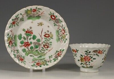 A Chinese Famille Verte Tea Bowl and Saucer Kangxi 17/18thC