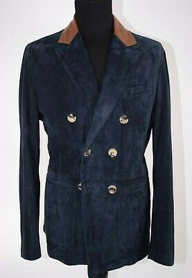Giorgio Armani Leather Jacket/Sport Coat DB Navy Size 52 (US 42) Made in Italy