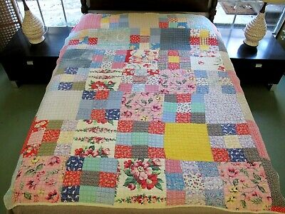 "Vintage OLD Farm-Made Hand Quilted Feed Sack NINE PATCH Heavy Quilt; 76"" x 64"";"