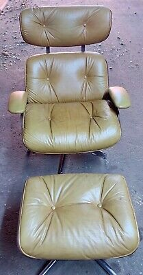 Vintage Mid Century Modern Plycraft Eames Style Chair & Ottoman- Toffee Leather