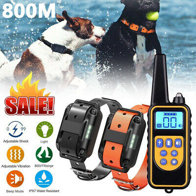 800M Remote Control Dog Training ECollar LCD Electric Shock Pet Rechargeable AU