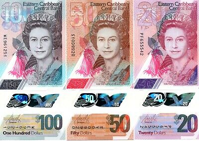 EAST CARIBBEAN STATES $100 $50 & $20 2019 P New x 3 UNC Polymer Banknote Set
