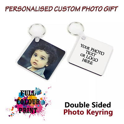 Personalised Custom PhotoKeyring Chain Christmas Dad Mum Birthday Present Gifts
