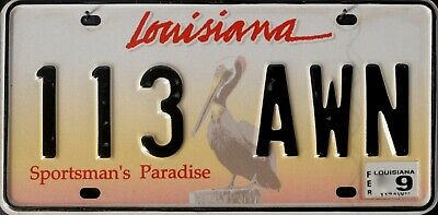 USA Number Licence Plate LOUISIANA PELICAN SPORTSMAN'S PARADISE