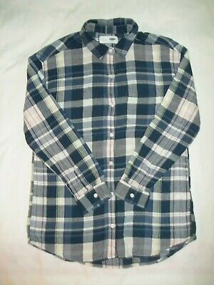 Old Navy Boyfriend Girl's Flannel Shirt Size XL 14 Button-Front Blue Plaid EUC