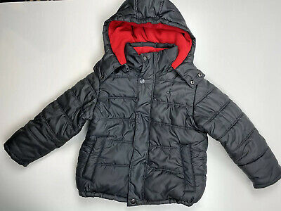 Calvin Klein Jeans Puffer Jacket Little Boys Gray Hooded , Size M, 4, A