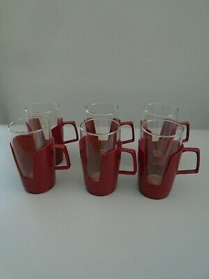 RETRO 60's 70's  SET SIX  LARGE SIZE PYREX   DRINKUPS  BURGUNDY HOLDERS
