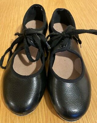 Bloch Black Low Heel Tap Shoes Girls Size 11 With Toe & Heel Taps