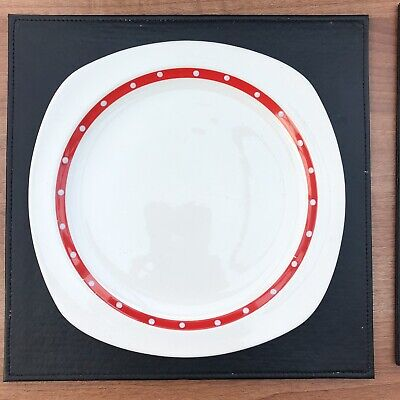 Two Midwinter Jessie Tait Red Domino Variation Dinner Plates
