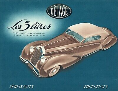 Catalogue Delage 3 litres 6 cylindres 1949