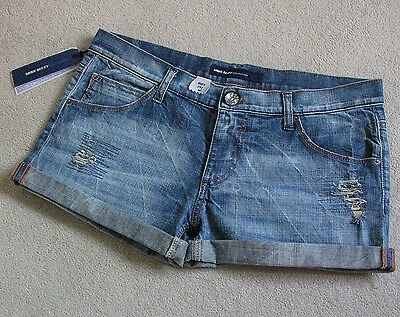 BNWT Miss SIXTY Distressed Denim Boy Fit Shorty Shorts With Turn-up Siz 33 UK12