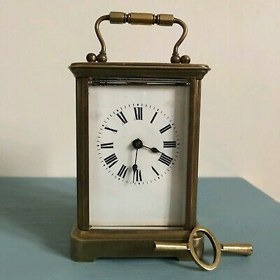 Brass Carriage Clock, French, Complete With Key, Bevelled Glass