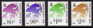 Hong Kong Coil Stamps Full set imprint '1991' 4v MNH SG#554-554f MI#641-644