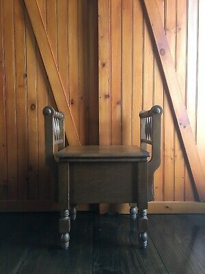 Antique Solid Oak Window Seat Commode With Hinged Lid