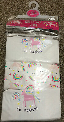 Girls 3 Pack Unicorn Vests Age 6-7 Years Old Unicorn  Birthday Gift Present