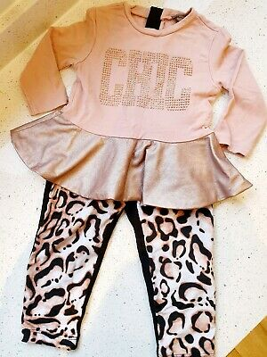 MICROBE Grant Couture Girls Pink Animal Print Outfit Top & Trousers 2-3y 24-36m