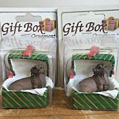 Dachshund Christmas Ornament Lot of 2 Gift Box Dog Ornaments Red Dachshund