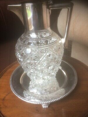 Antique Silver Plate / Crystal Claret Jug Hobnail Pattern Height 8 Inches