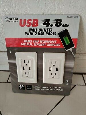 FEIT USB 4.8 AMP wall outlets with 2 USB ports Fast Charging 2 PACK