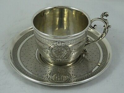 FRENCH, solid silver TEA CUP & SAUCER, c1900, 125gm