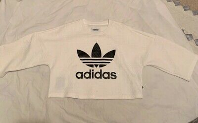 Adidas girls womens cropped top UK size 6 cream & black excellent condition