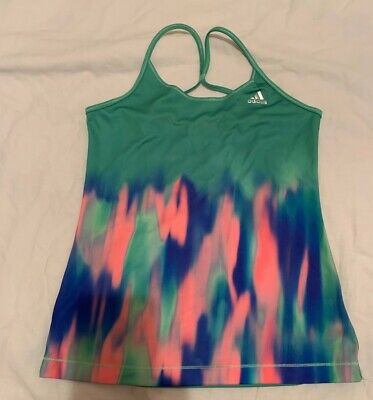 Girls adidas green sports racerback top Climalite age 9-10 Excellent condition