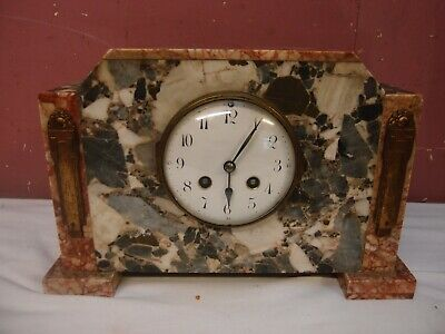 Antique Victorian French Art Deco Design Marble Mantle Clock