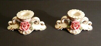 Antique Crown N Dresden Pair of Porcelain Candle Holders Raised Floral Decoratio