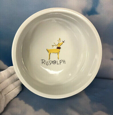 "Pottery Barn Rudolph Reindeer 9"" Serving Bowl Thicker Walls Collection Pattern"