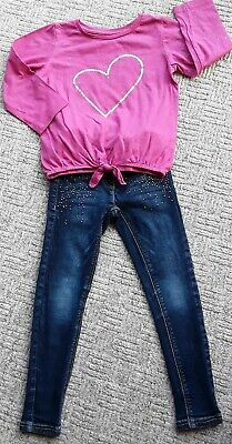 💋Girls sparkly pink top &💋 NEXT 💋skinny Jean's age 5-6 VGC 💋