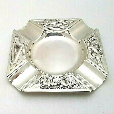 Solid 1936 Sterling Silver England Scotland Wales N.Ireland Ashtray 73.5g