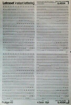 LETRASET Dry Rub On Transfers LETTERS 'FRUTIGER' 18pt 4.5mm (#IL4554)