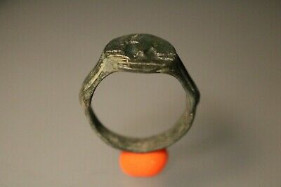 Ancient Fantastic Roman Bronze Ring * Antelope 1st - 4th century AD