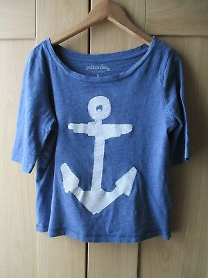 Girls Johnnie B Boden Tops Grey Frilly Vest and Blue T-shirt Small