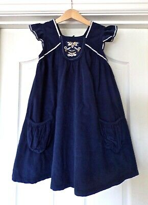 Girls Dress John Lewis Age 8 Years, Blue 100% Cotton, Embroidered, Gold Sequins