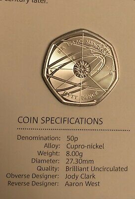 2017 Issac Newton 50p Coin BU Condition Brand New Royal Mint
