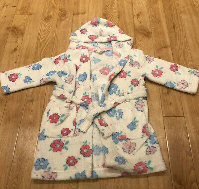 John Lewis Cream Girls Hooded Flower Dressing Gown Size 2-3 Years