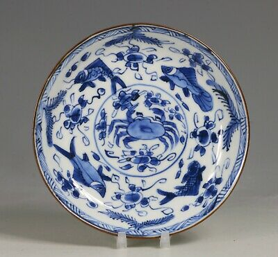 A Fine and Rare Chinese Celadon Blue and White Saucer Dish Kangxi L17thC