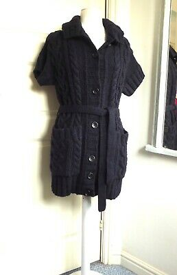 MARC O'POLO Cable Knit Long Cardigan Chunky Navy Belt Wool Alpaca Mohair Mix XS
