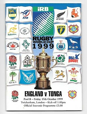 England V Tonga Rugby World Cup 1999 Pool B Match Programme