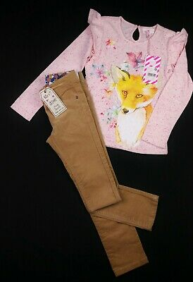 Girls Clothes NEXT Skinny Corduroy Jeans & LS Fox PUMPKIN PATCH Top 6 Years BNWT