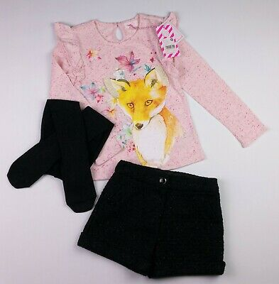 Girls Clothes F&F Sparkly Shorts PUMPKIN PATCH Fox Top & NEW Tights 6-7 Years