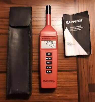 AMPROBE THWD-3 Relative Humidity & Temperature Meter w/Manual & Case !!