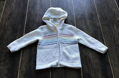 Little Bird By Jools Oliver Hooded Purl Knit  Cardigan 6-9 Months Cream